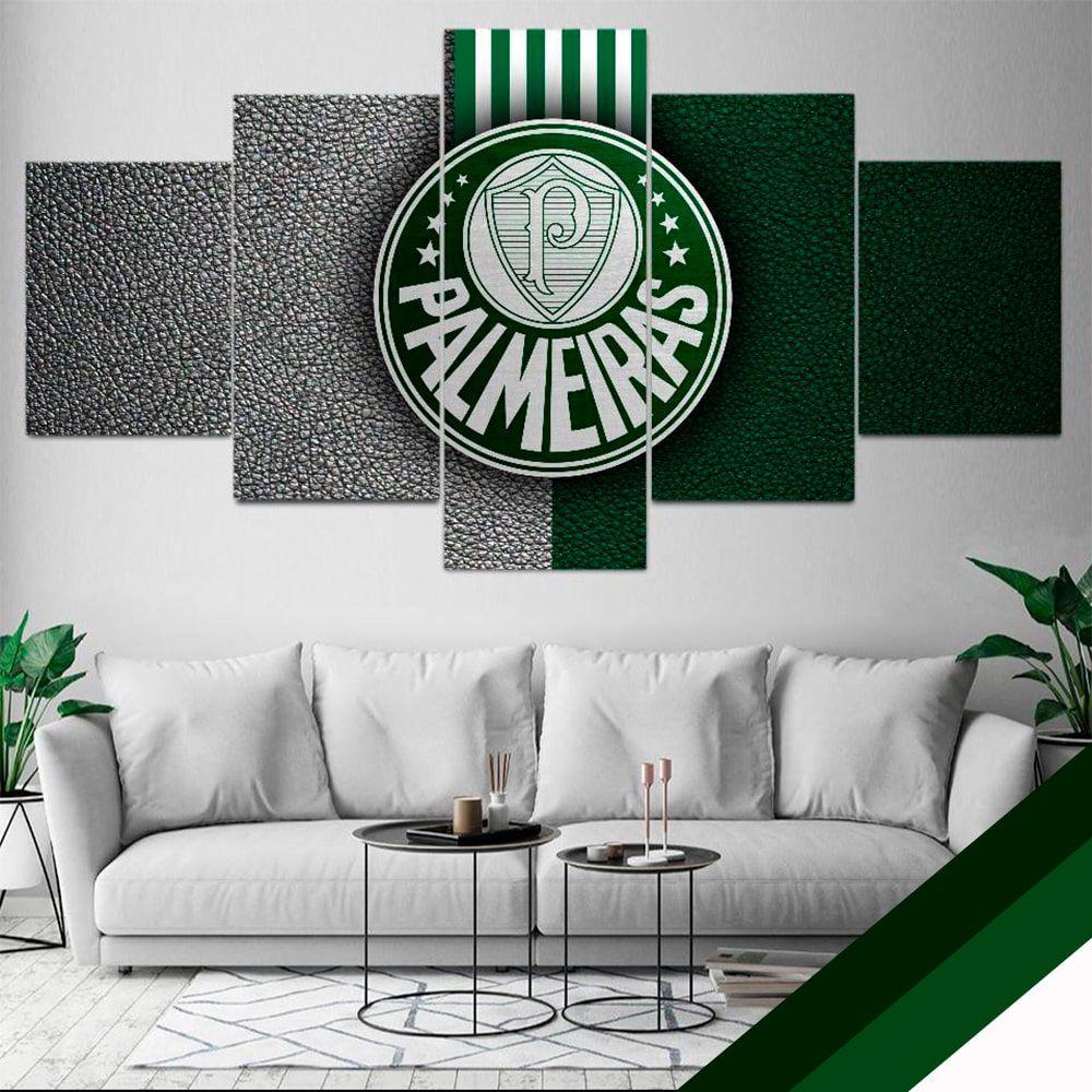 Quadro Time Palmeiras Mosaico 5 telas Sala Quarto