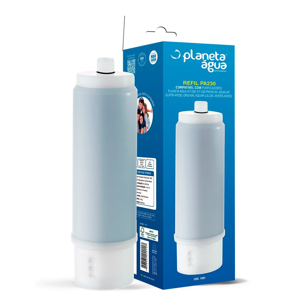 Refil Filtro Planeta Água PA230 para Filtro de Água FIT 230 e FIT 230 Premium Planeta Água, 3M AP230, Aquaplus, EF Polifil 300 - 1091
