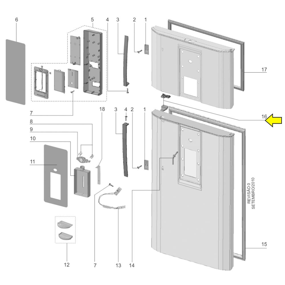 Suporte Puxador Geladeira Electrolux DF80X DI80X DT80X DWX51 - 67403305