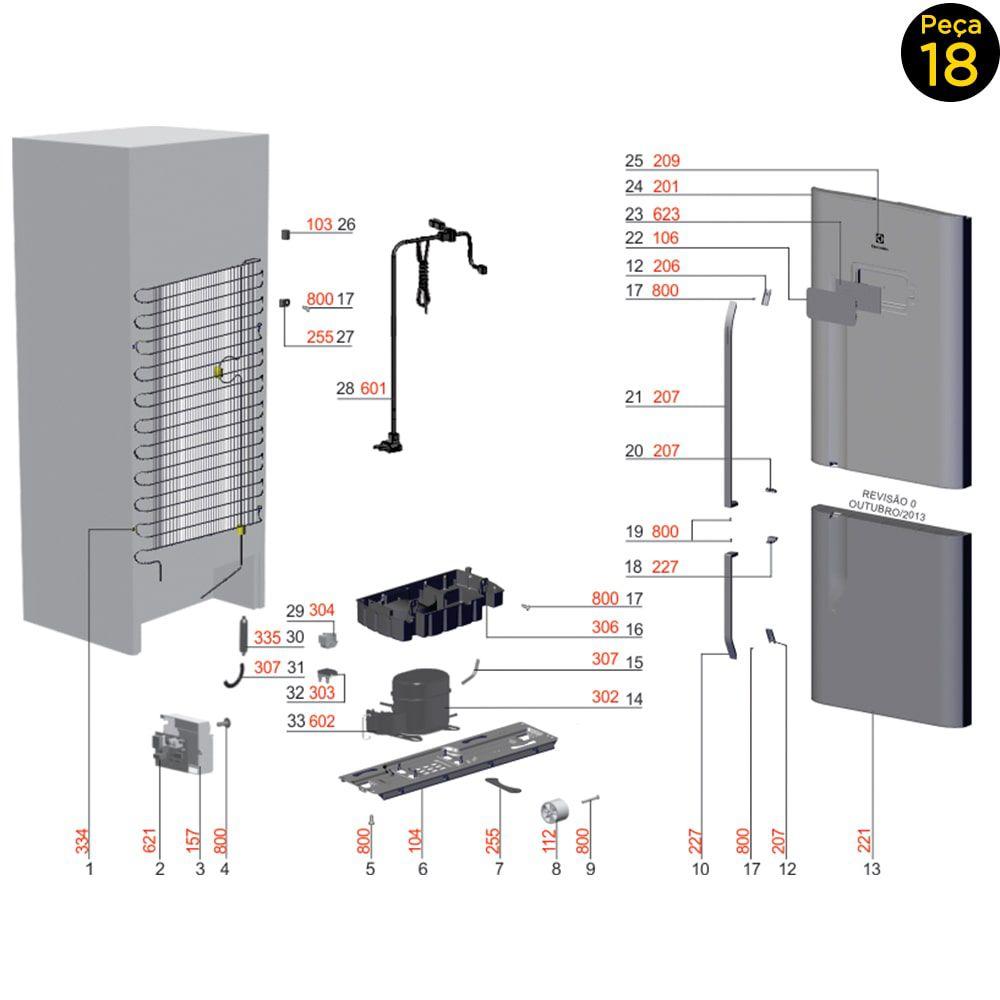 Suporte Puxador Portas Freezer Geladeira Electrolux DB52X DT52X TF51X TF52X IB52X - 67404031