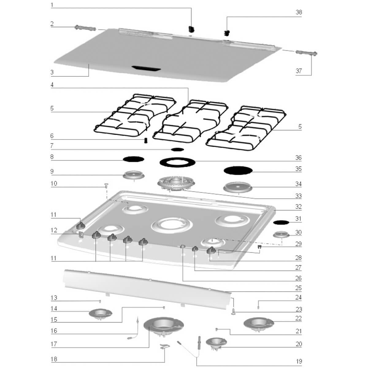 Tampa De Vidro Cilíndrico Espelhado Para Fogão Electrolux  76TX 76HLX 76HL 76HLX - 70093903