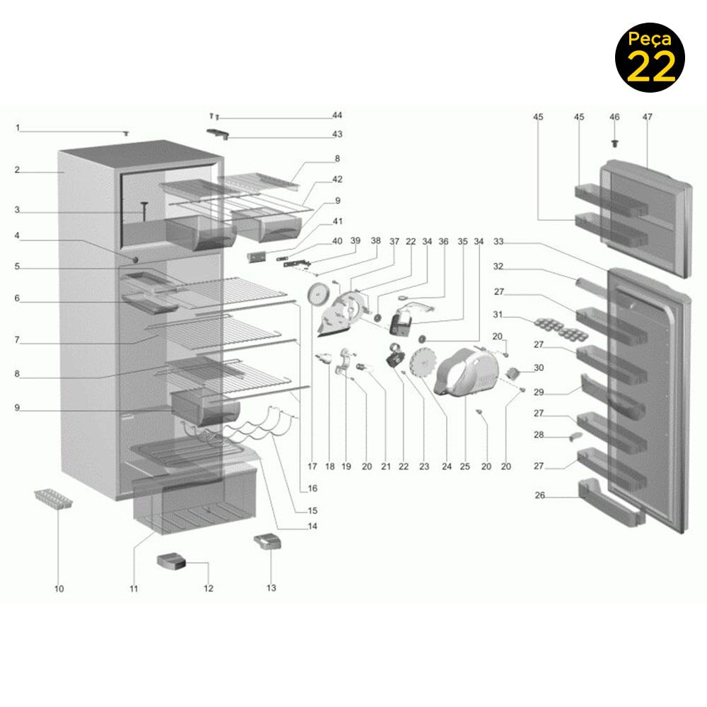 Termostato Refrigerador Electrolux DC51X DC38 DC46 DC48 DCW49 DC47A DC49A DC50X DC51 DCW50 DC50 - 64778675