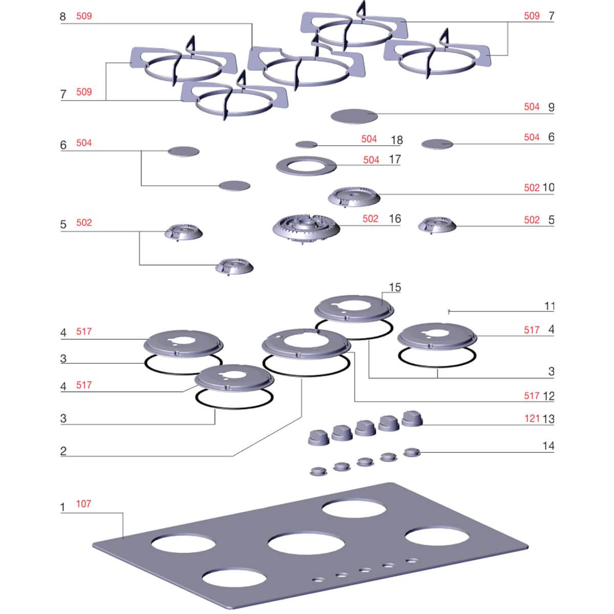 Trempe Individual Lateral Para Fogão Electrolux GC75U GV75P GC75P 76GSS - 72000691