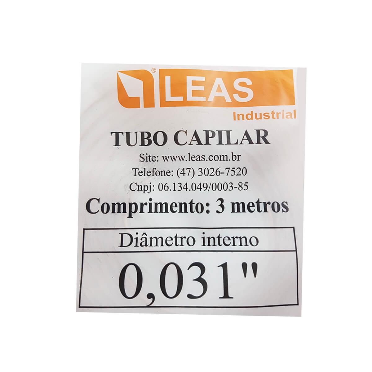 Tubo Capilar De Cobre 0,031 Com 3 Metros