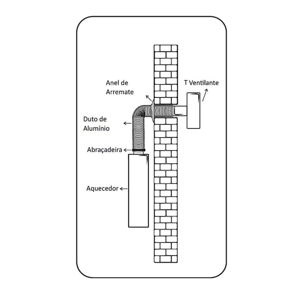 Tubo Flexível de Alumínio Flextic Para Aquecedor de Água a Gás Diâmetro 80mm Comprimento 1,5m