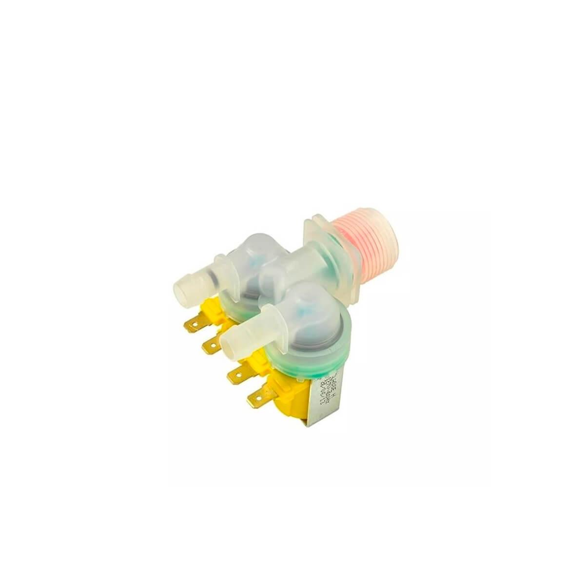 Válvula Dupla 127V Emicol Para Lavadora De Roupas Electrolux Rosca Fina - 64287483 / 9764081 / 64287453