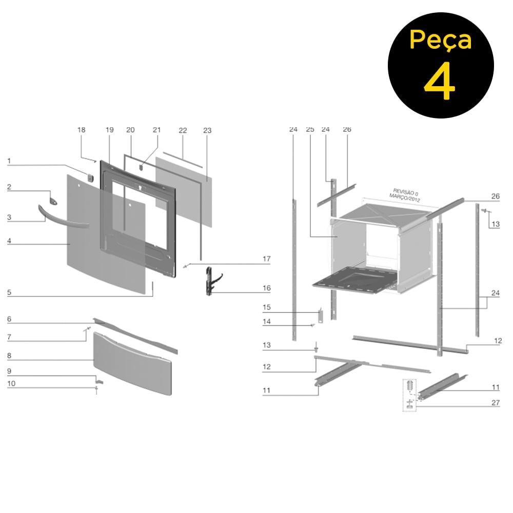 Vidro Externo Porta Forno Fogão 4 Bocas Electrolux 56SB 56SPB - 70201659