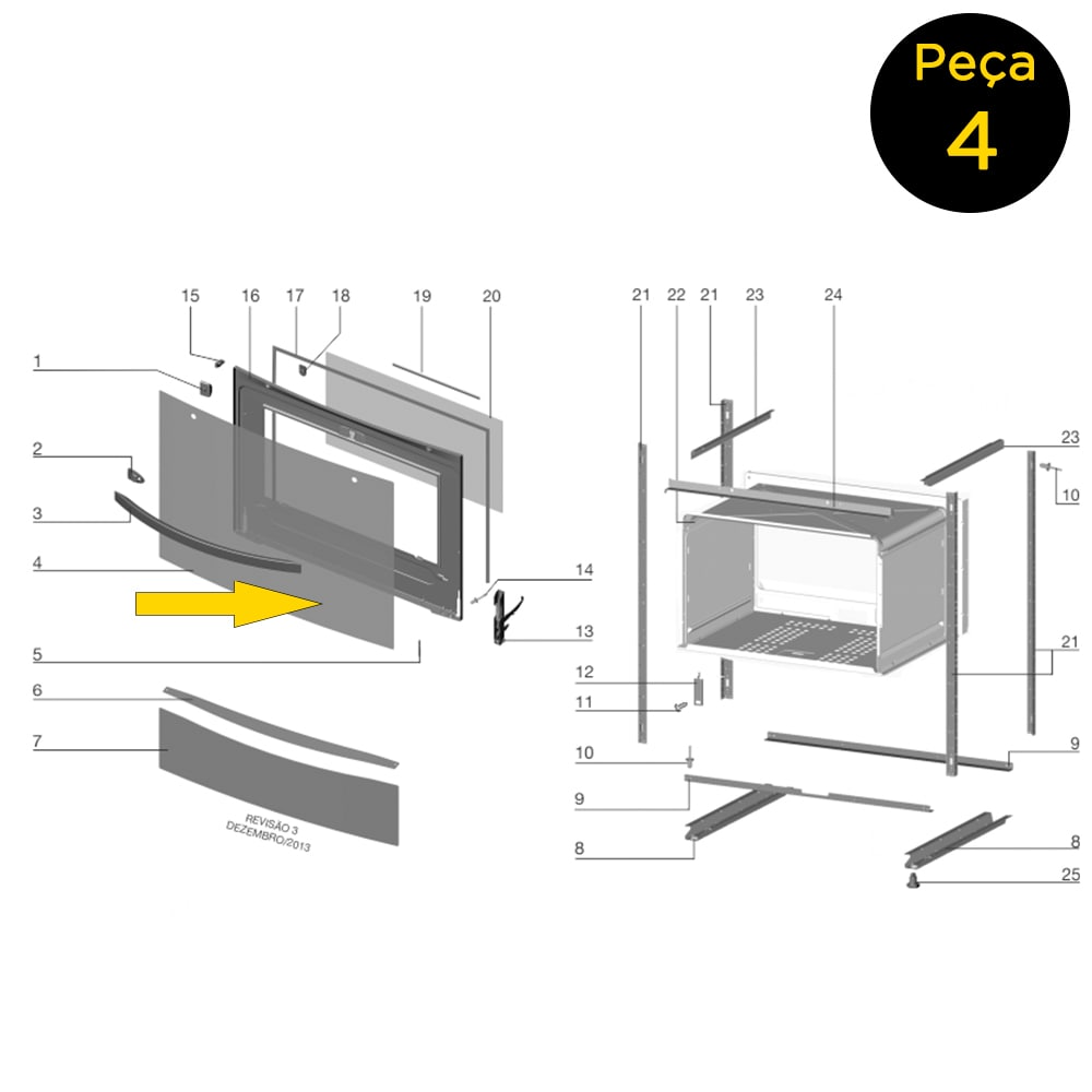 Vidro Externo Porta Forno Fogão Electrolux 76SRX 5 Bocas - 70201664