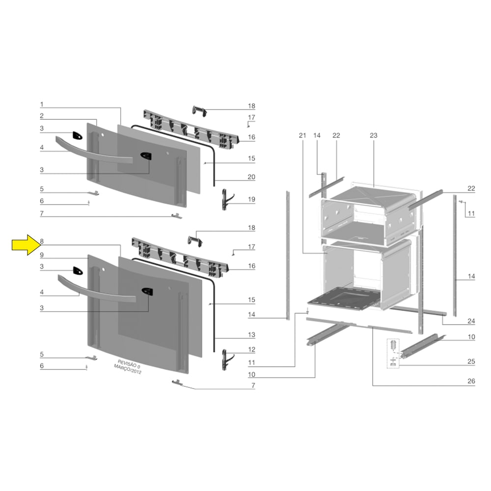 Vidro Interno Da Porta Do Forno Para Fogão Electrolux 56DB - 70201662