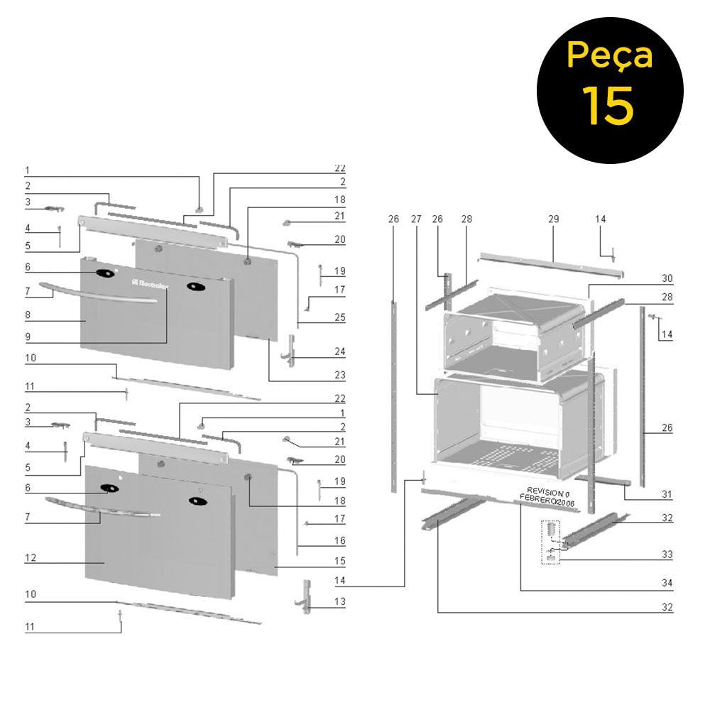 Vidro Interno Porta Forno Grande Fogão Electrolux 76DX 76LX 76HLX - 60016930