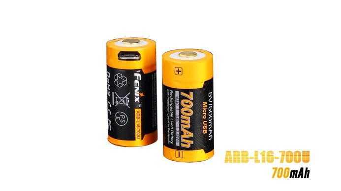 Bateria Fenix 16340 - 700UmAh USB