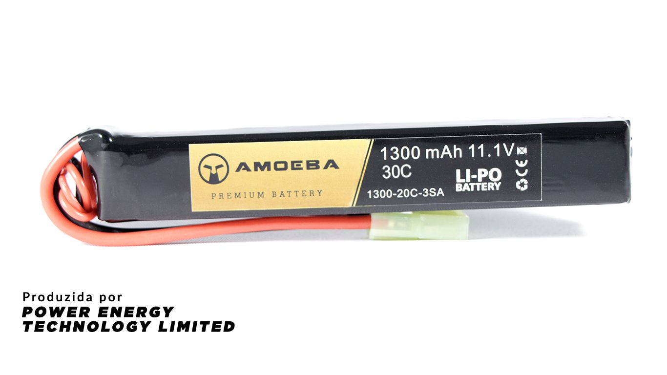 Bateria Para Airsoft Amoeba - 30C - 1 Pack P/ Tubo da coronha - 1300mAh - 11.1V