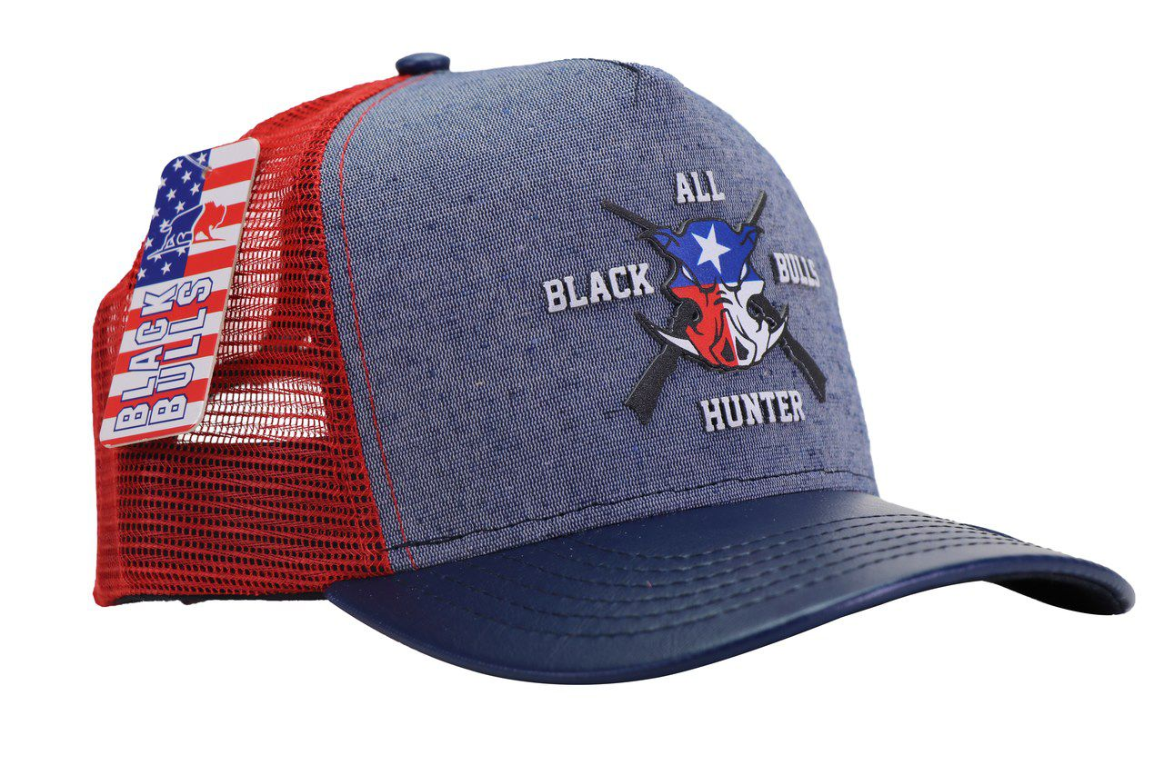 Boné All Black Bulls Hunters - Vermelho c/ Azul