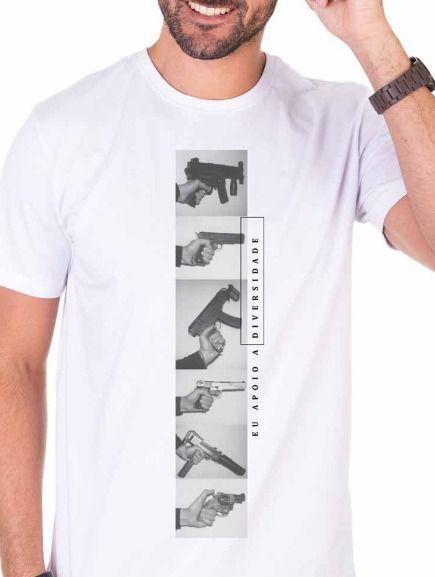 Camiseta Eu Apoio a Diversidade - Branco Off White