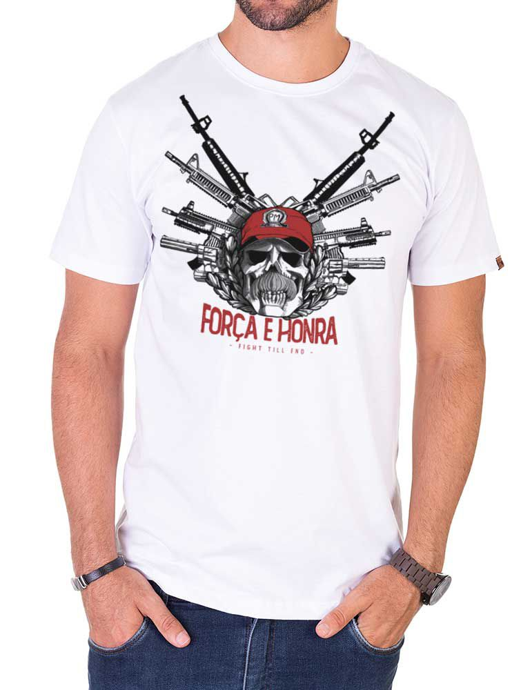 Camiseta Fahur: Força e Honra Armas - Branca
