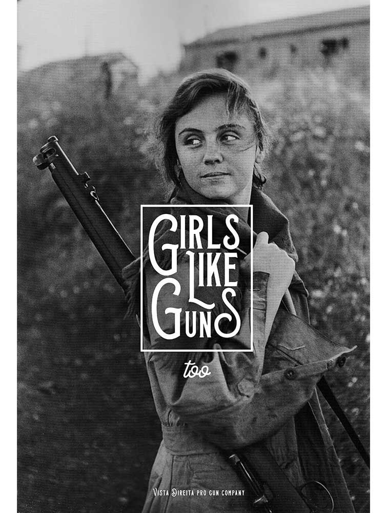 Camiseta Girls like guns too - Branco Off White