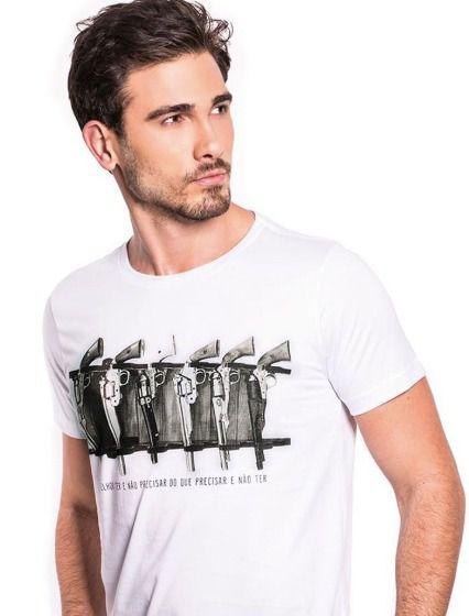 Camiseta Melhor ter e Não Precisar do que Precisar e Não ter - Branco Off White