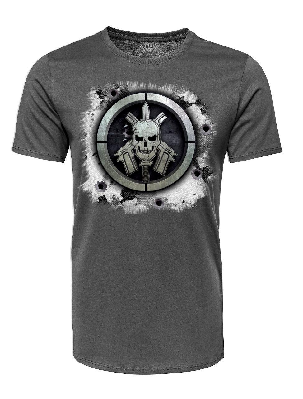 Camiseta Militar Estampada BOPE - Cinza