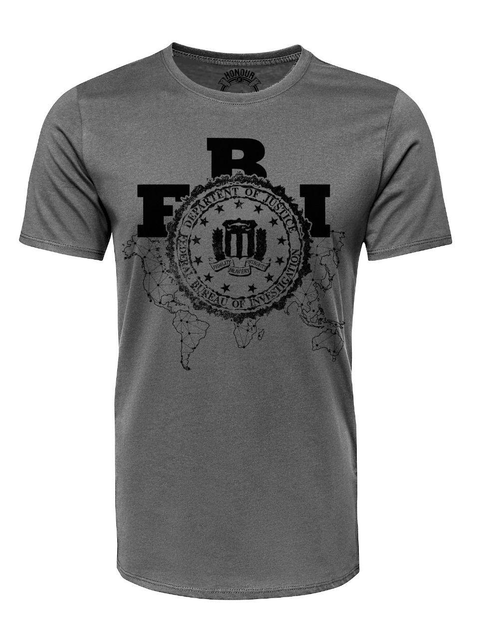 Camiseta Militar Estampada FBI - Cinza