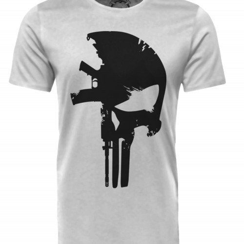Camiseta Militar Estampada Punisher M4 - Branco