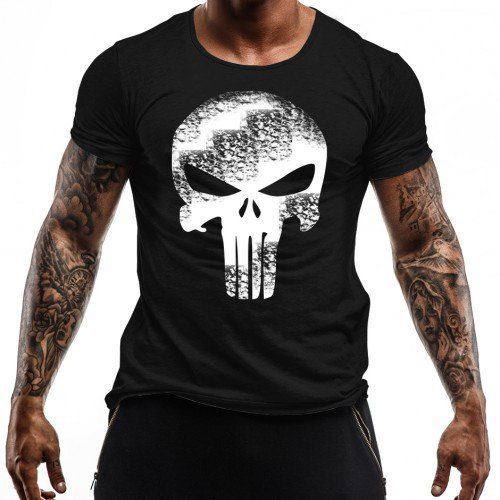 Camiseta Militar Estampada Punisher - Preto