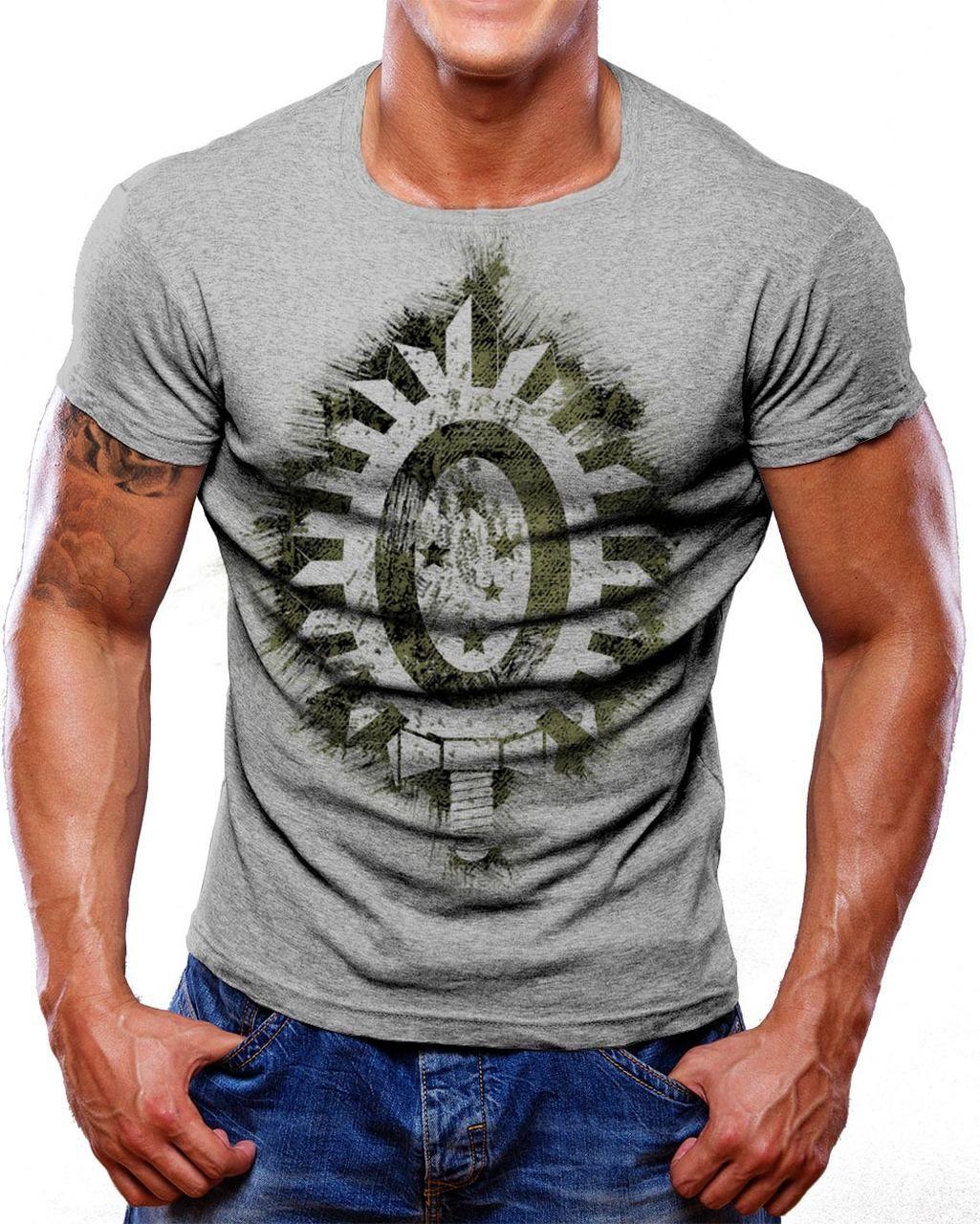 Camiseta Militar Estampada Selva EB - Cinza