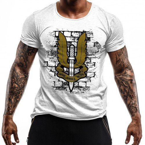 Camiseta Militar Estampada Special Air Service - Branco