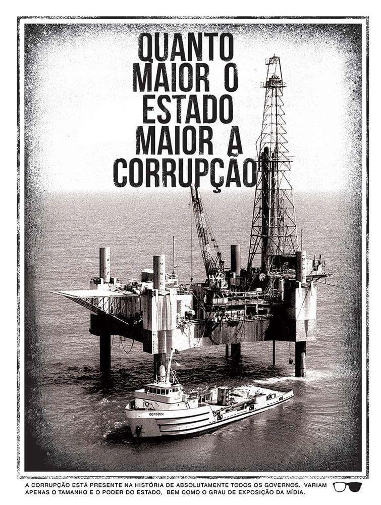 Camiseta Quanto maior o Estado maior a Corrupção - Branca