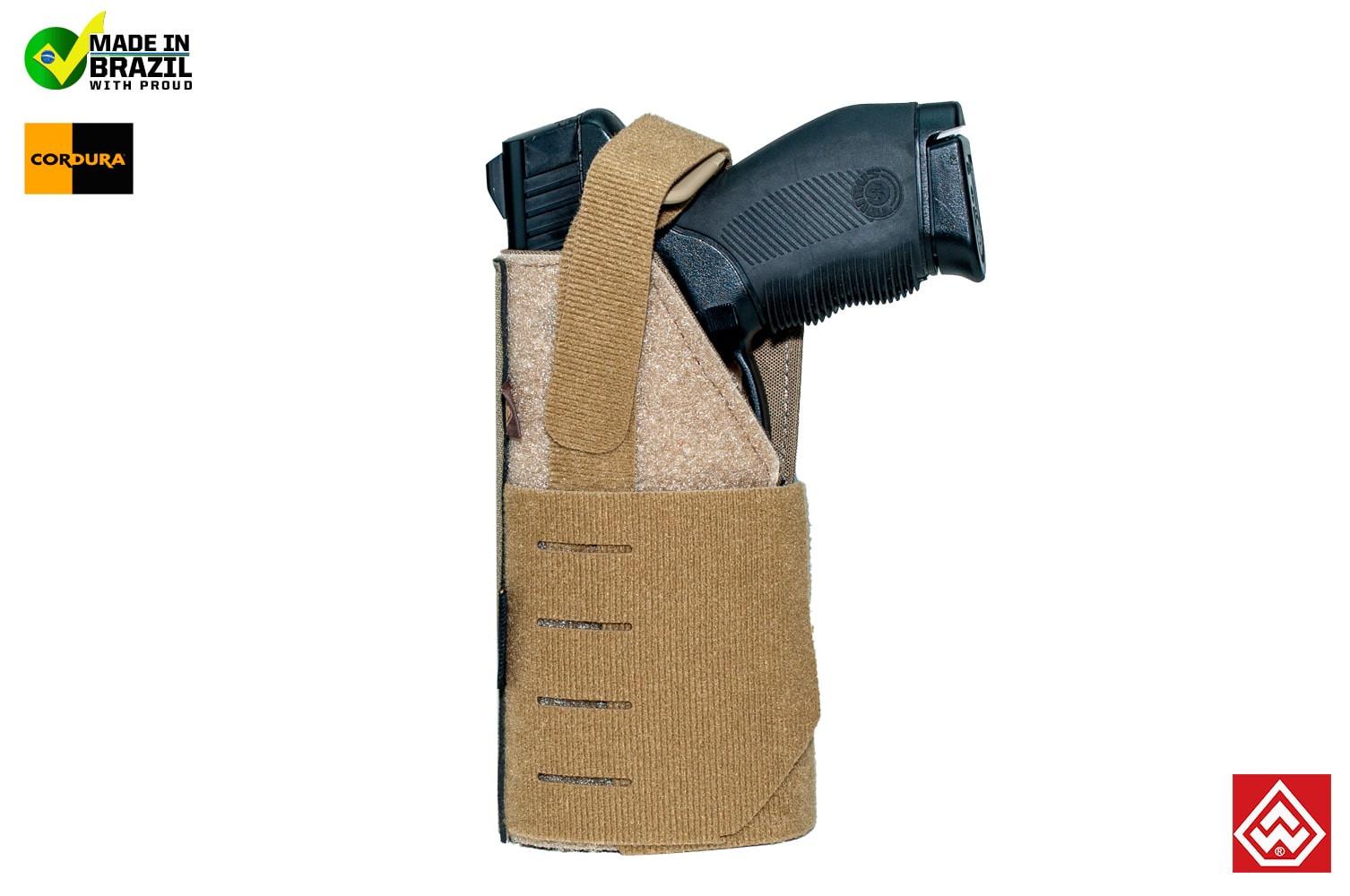 Coldre Police MOLLE Canhoto para Pistola - Coyote