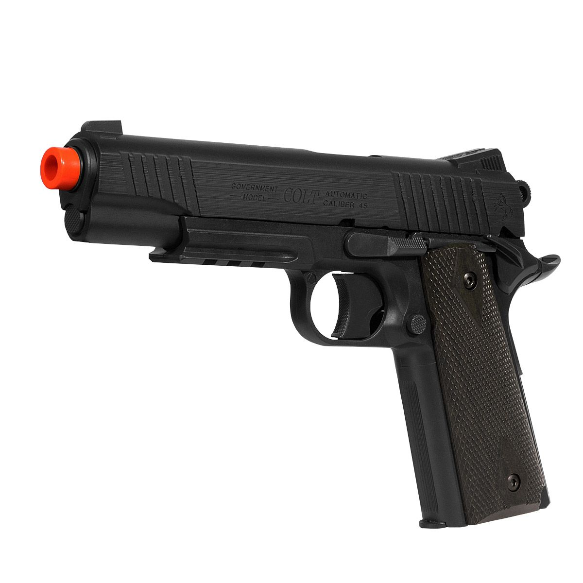Pistola Airsoft  Colt 1911 Rail Gun Blackened NBB Co2 - Cybergun
