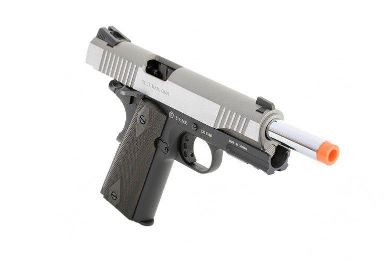 Pistola Airsoft - Colt 1911 Rail Gun STAINLESS Dual Tone GBB - CO2 CyberGun 180531