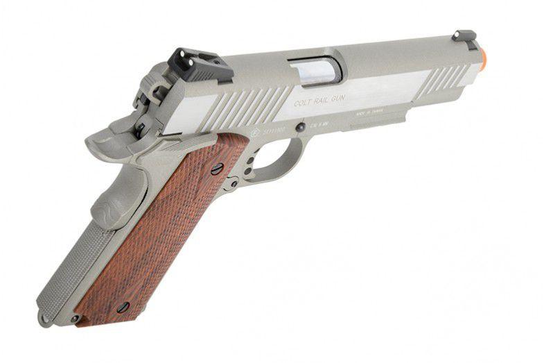 Pistola Airsoft - Colt 1911 Rail Gun STAINLESS  GBB - CO2 CyberGun 180530