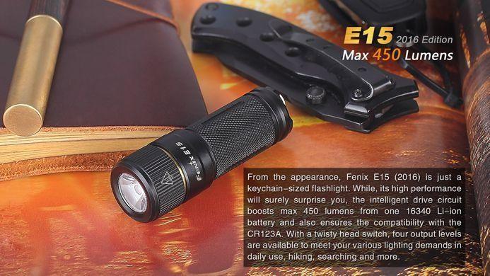 Lanterna Fenix E15 - Alcance De Até 132m - 450 Lumens