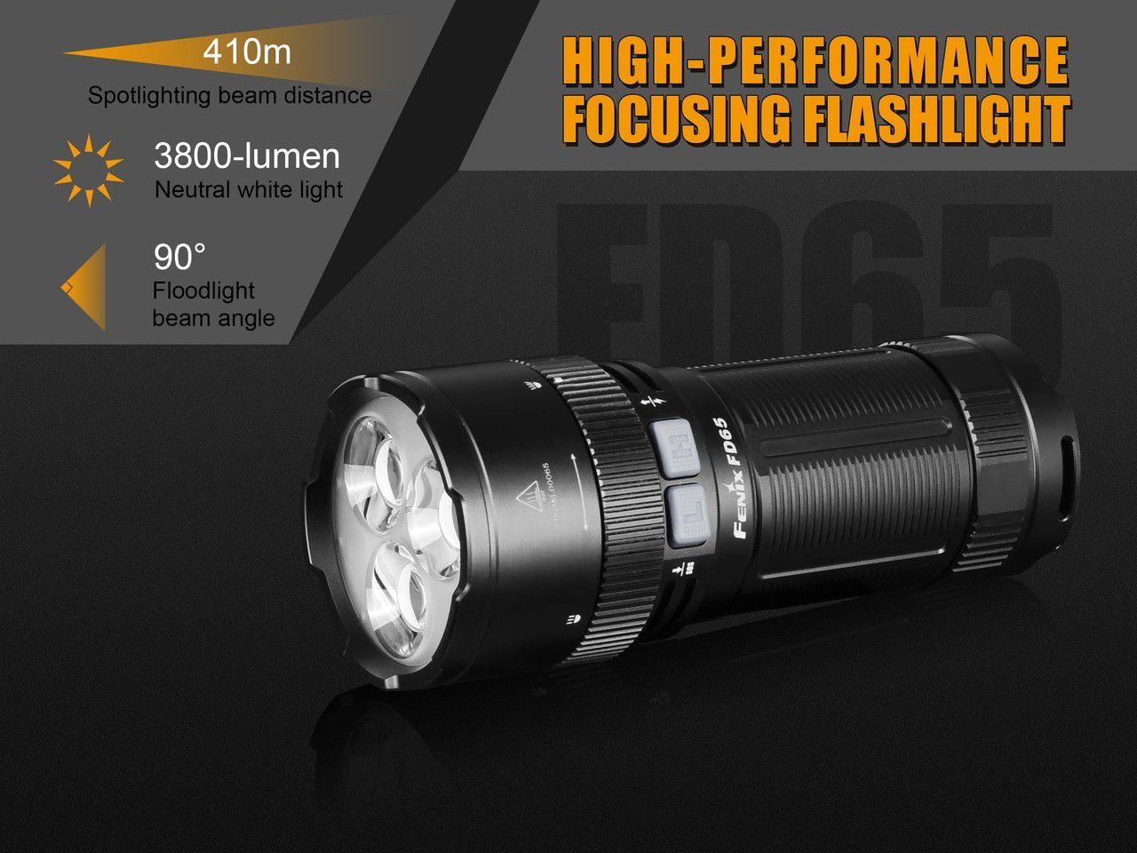 KIT Lanterna Fenix FD65 - Ajuste O Foco Conforme Sua Necessidade -3800 Lumens
