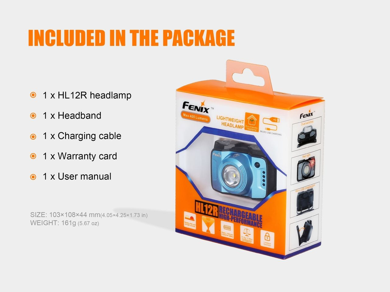 Lanterna Fenix - HL12R Azul - 400 Lúmens