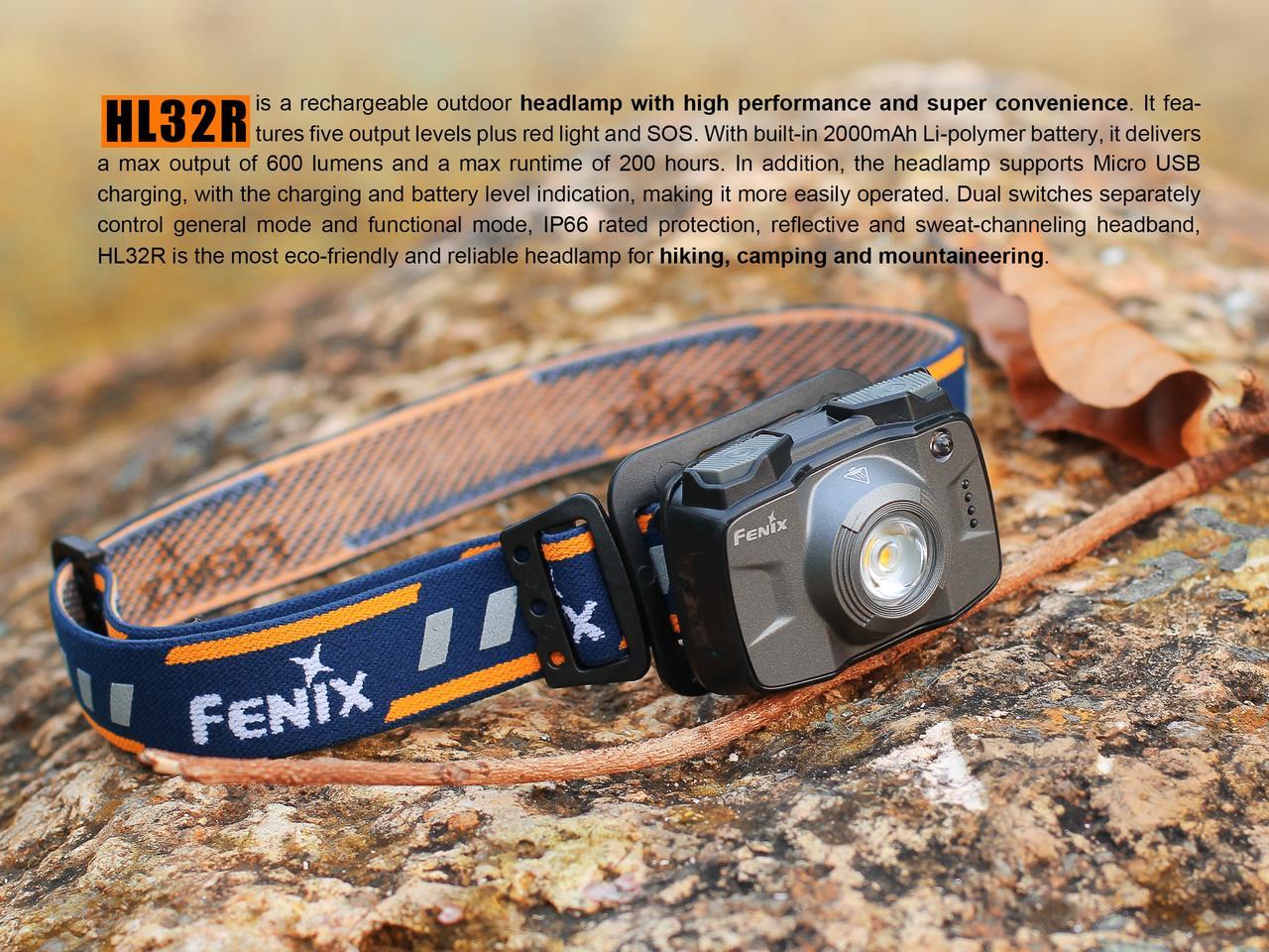 Lanterna Fenix HL32R Cinza 600 Lúmens