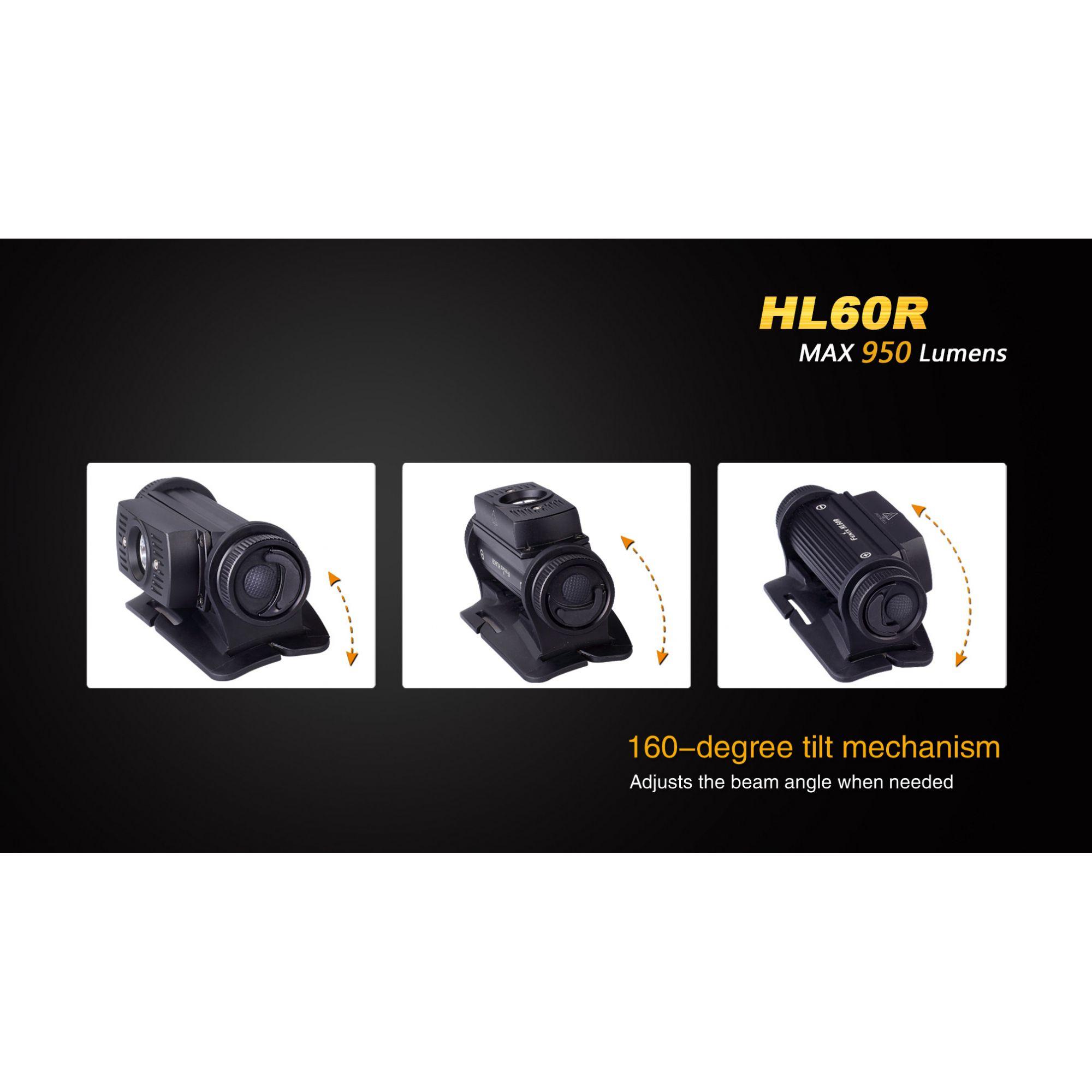 Lanterna Fenix HL60R Black - Alcance Até 116m - 950 lúmens