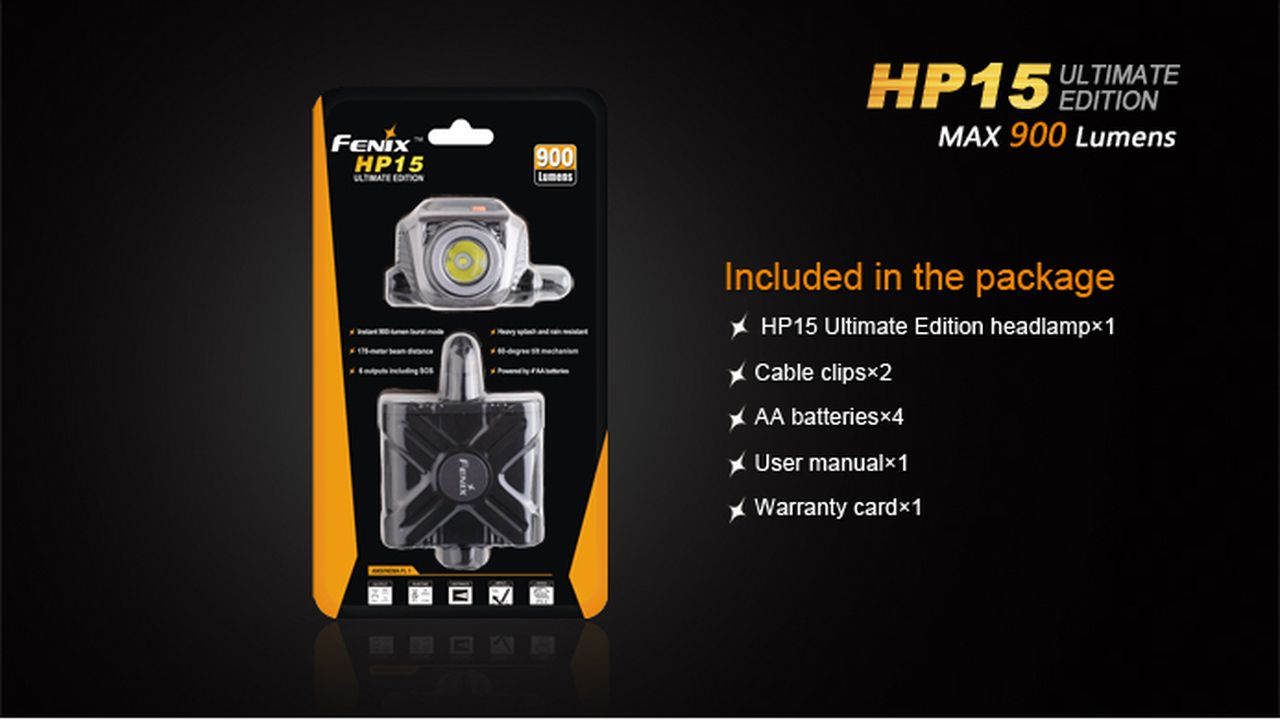 Lanterna Fenix - HP15UE Preta - 900 Lúmens