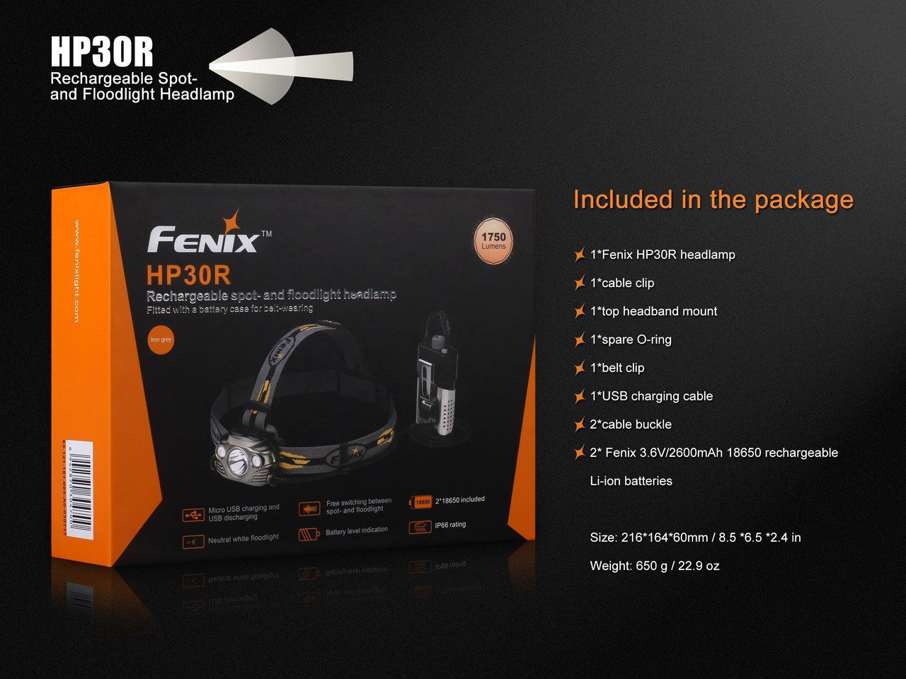 Lanterna Fenix - HP30R Preta - 1750 Lúmens