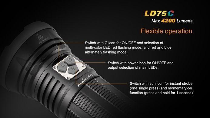 Lanterna Fenix LD75C - Alcance De Até  490m - 4200 Lumens