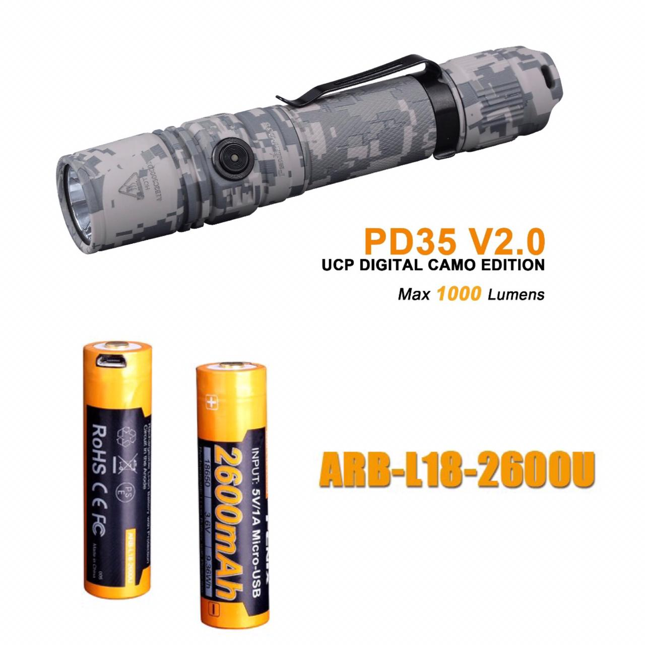 Lanterna Fenix PD35 Camuflada + Bateria 2600mAh USB  - OFERTA EXCLUSIVA