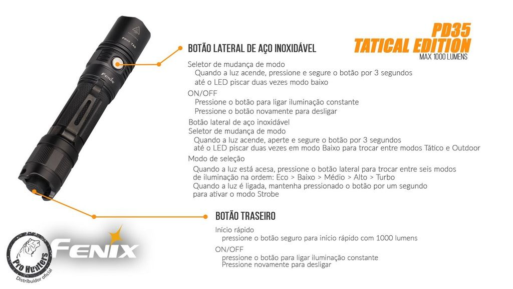 Lanterna Fenix PD35 - Tactical  Edition- 1000 Lumens