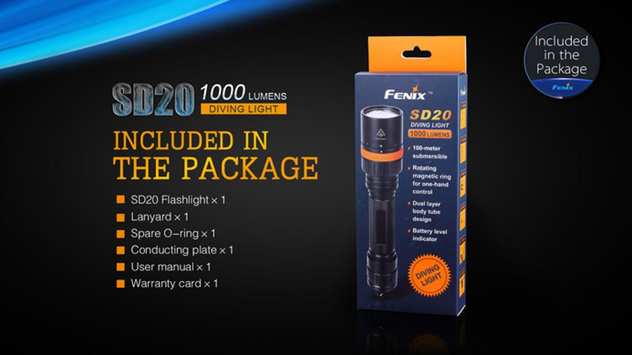 Lanterna Fenix - SD20 Preta - 1000 Lúmens