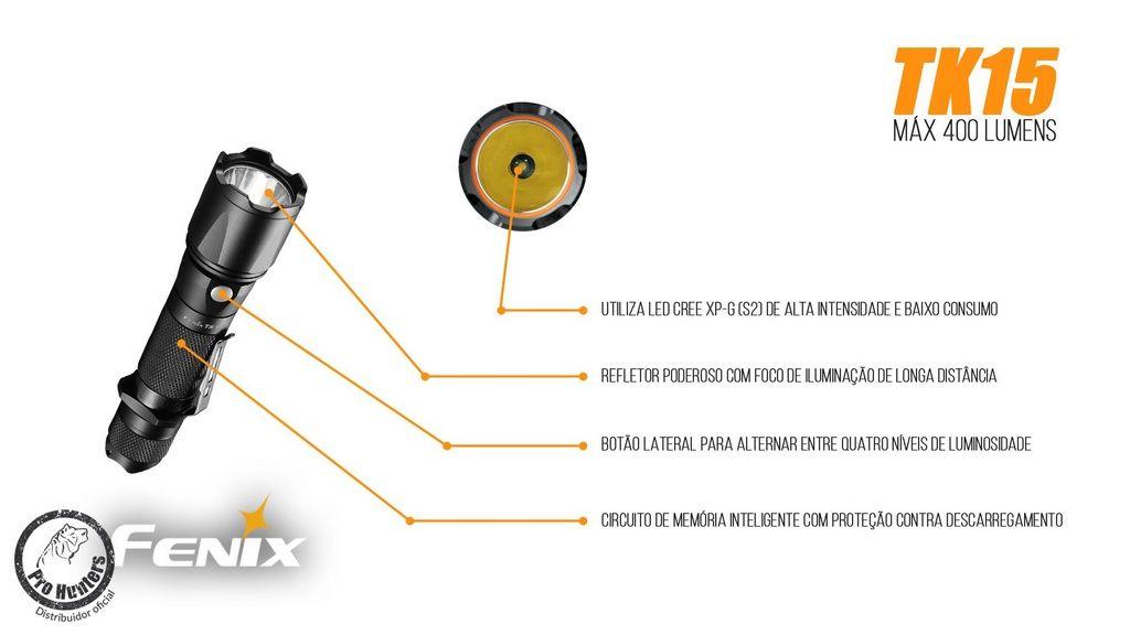 Lanterna Fenix TK15 - Alcance De Até 252m - 400 lúmens