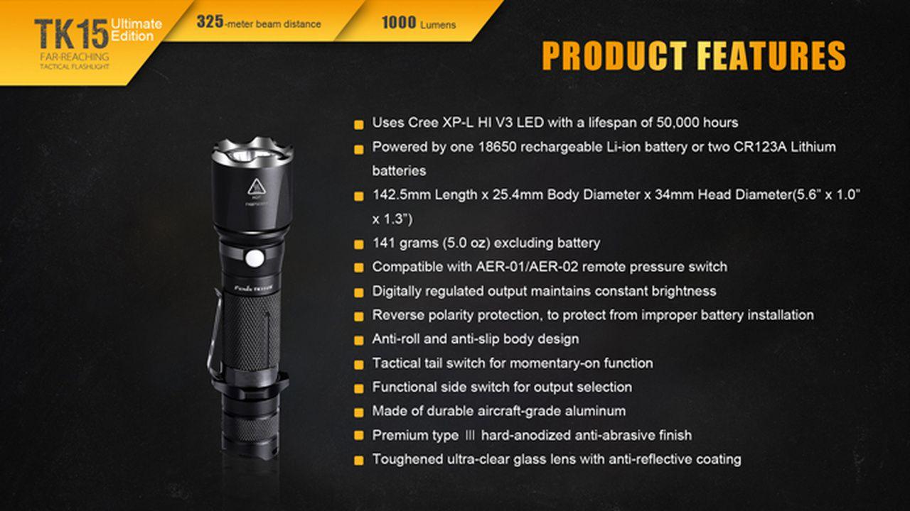 Lanterna Fenix TK15UE -1000 lumens + Bateria 2600U USB