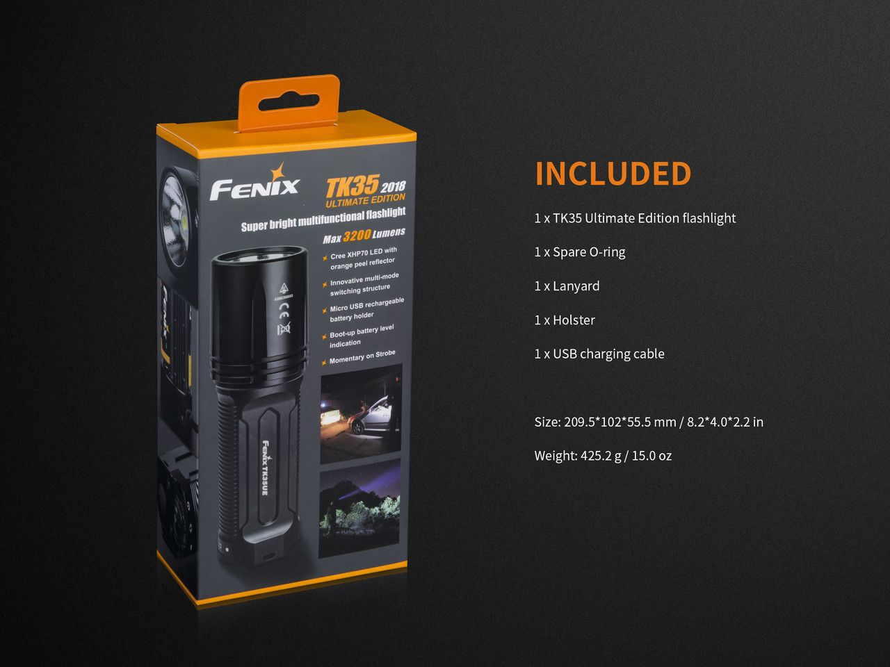 Lanterna Fenix TK35UE 2018 Preta 3200 Lumens