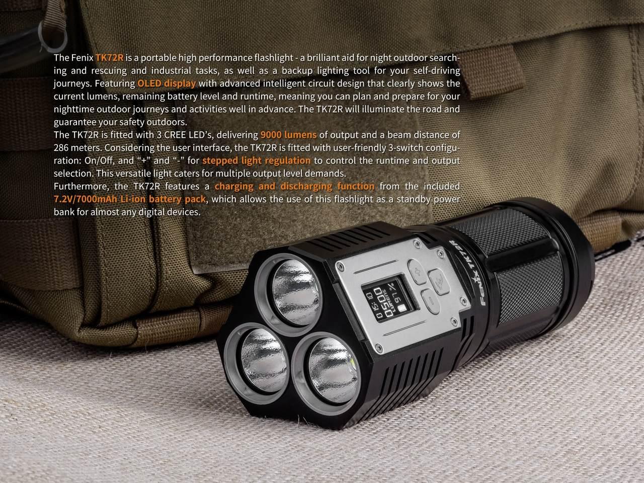 Lanterna Fenix TK72R Preta 9000 Lumens