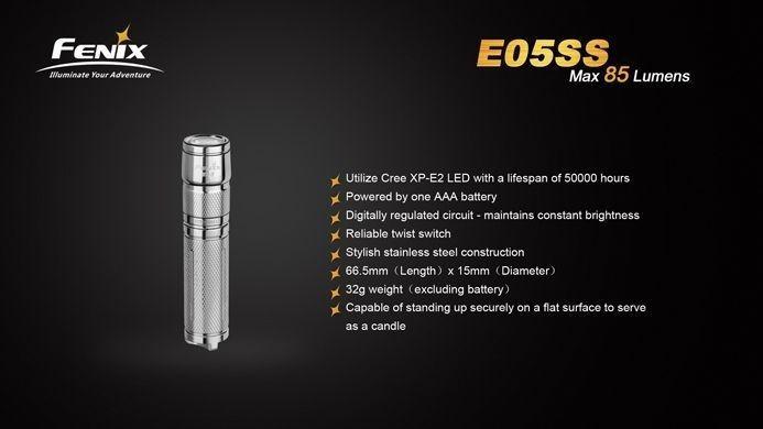 Lanterna Fenix E05SS - 85 Lumens