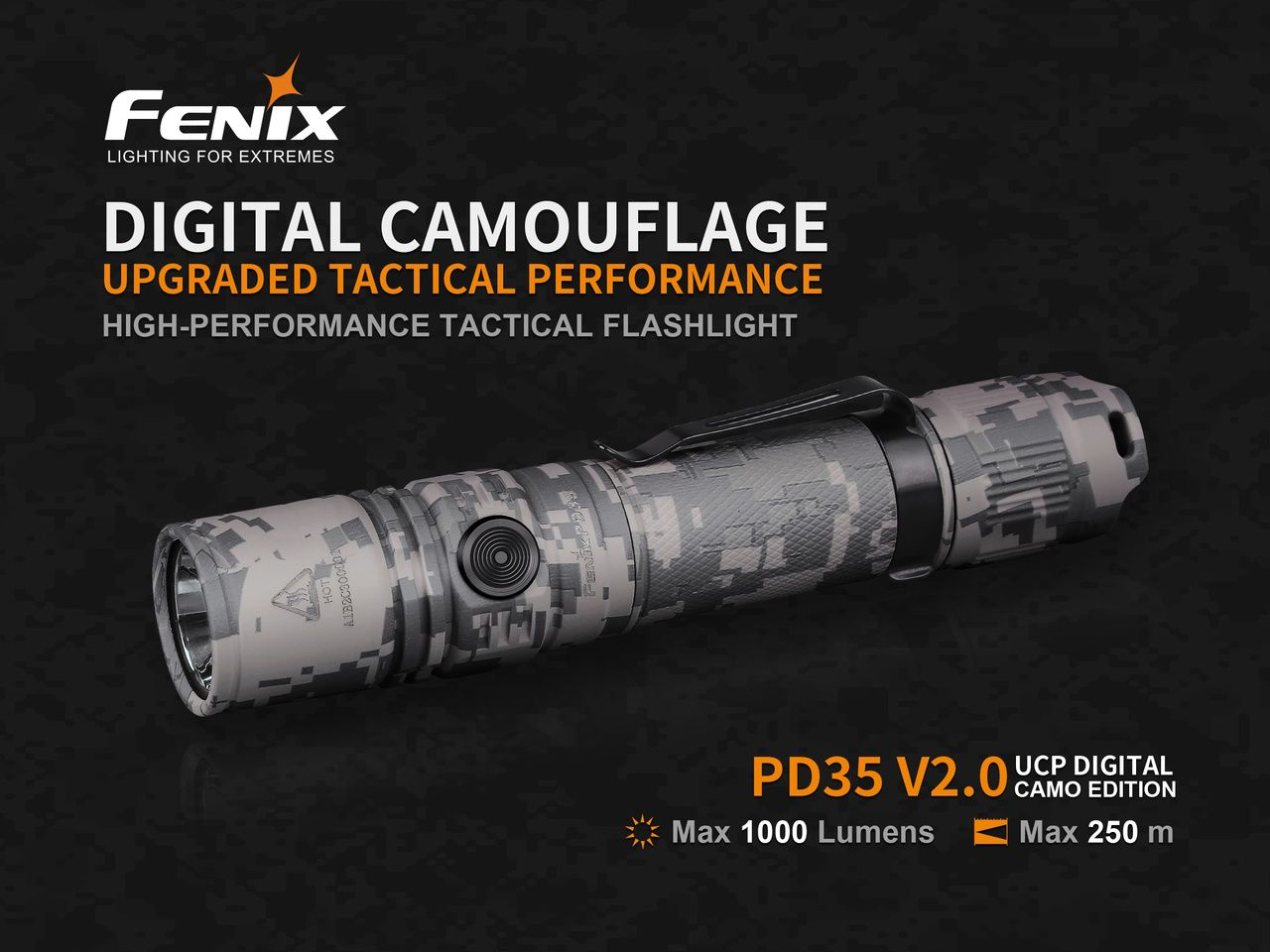 Lanterna Tática Fenix PD35 V2.0 Camo - 1000 Lumens