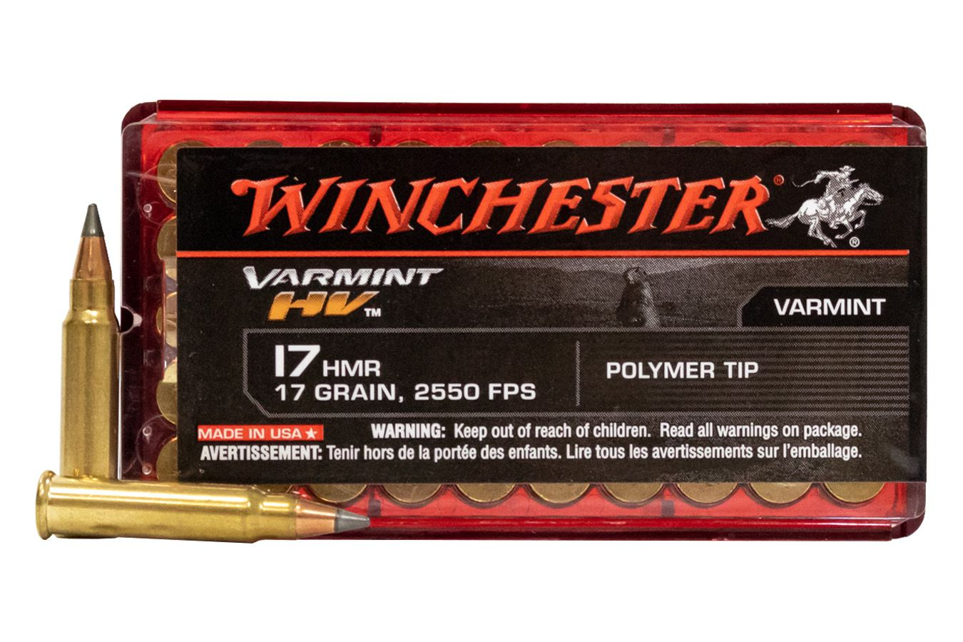 Munição .17 HMR Winchester Varmit HV (Alta velocidade) 50und.
